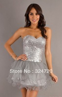 2014 new sparkling silver seqioms Short strapless sweetheart prom dress tulle damas dress for sweet 16 party free shipping