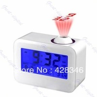 5pcs/lot Free Shipping Talking Projection LED Alarm Digital Projector Clock with calendar and thermometer LED-C809
