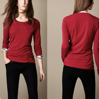 Perennial Stock Women's Basic Warm Long Sleeve T Shirt O Neck Solid Color Slim Fitting All Match Brushed Blouse WC1022