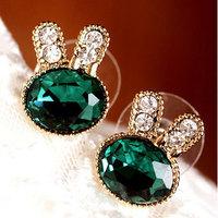 Onrabbit k gold sea blue earring gem rhinestone exquisite rabbit stud earring accessories  jewelry