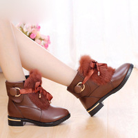 Cuuyuu women's winter genuine leather shoes rabbit fur boots medium-leg 308 boots