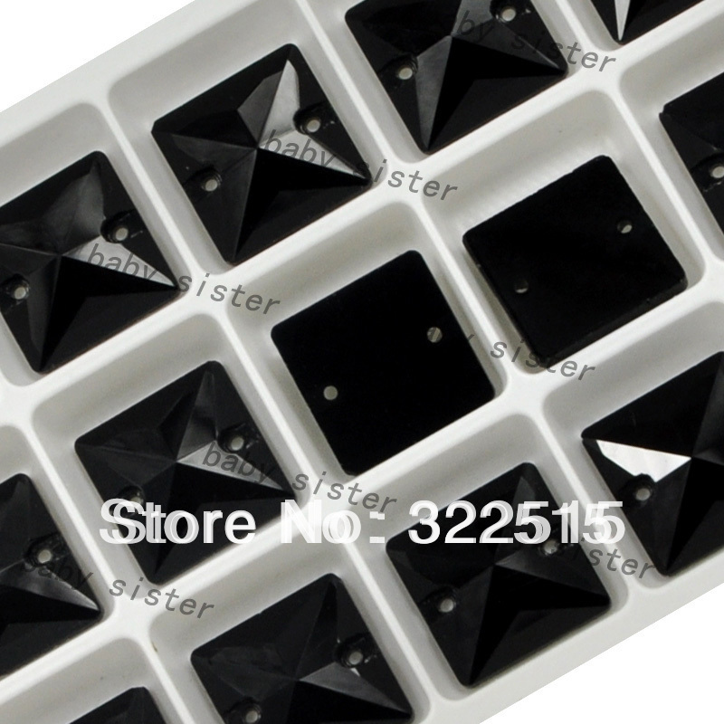 Free shipping(24ps/lot)jet color,22*22mm, Flatback, silver base, crystal material square sew on Rhinestone(China (Mainland))