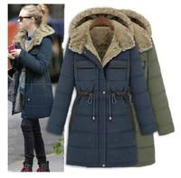 2014 Fashion Slim Wadded Winter Jacket Women Thickening Liner Medium-Long Cotton-Padded Jacket Plus Size Clothing S-XXL