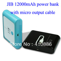 20pcs/lot JIB Brand Universal portable power bank 12000mah power bank with Micro USB output Cable !