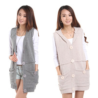 Autumn new arrival 2013 solid color medium-long all-match vest hooded cardigan sweater female cardigan