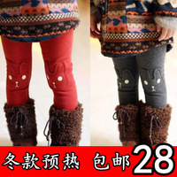 Winter children's clothing child patch casual pants female child long trousers baby thickening plus velvet legging