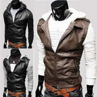 Korean version of the knitted sleeve hooded leather stitching quality menswear winter 2013 Slim Short leather jacket men's coat