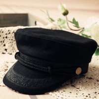 Cadet cap hat navy woolen cap benn leather hat brim fashion vintage new arrival