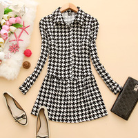 Lovable Secret - - g139 2013 women's turn-down collar pullover long-sleeve houndstooth dress k-07  free shipping