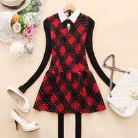 Lovable Secret - - g036 2013 women's turn-down collar plaid knitted basic k-07 one-piece dress  free shipping