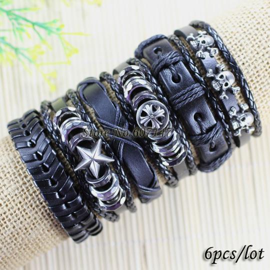 Free shipping wholesale (6pcs/lot) Punk rock metal bangles genuine adjustable leather bracelet men pulseira masculina -X5(China (Mainland))