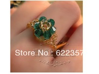 Hand-woven beaded crystal flower ring wholesale