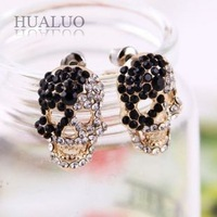 2014 New Arrived Fashion Personality Black&WWhite Rhinestone Skull Earring E999 E1000