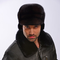 Fur hat cap male winter mink hair hat black flat brim ear thermal