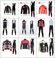 2013 Castelli #011 Thermal Fleece Cycling Jersey Long Sleeve and Cycling (bib) Pants GTZ040