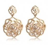 E456  Free Shipping Wholesales 2014 New Meet Bloom Roses Hollow Zircon Earrings Jewelry