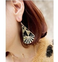 E454  Free Shipping  Wholesales Fashion Enamel Wild Big Fan Atmospheric Water Droplets Earrings