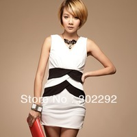 Free shipping hot sell  new fashion top Rencounter color matching lotus leaf yarn one-piece dress 118900