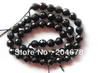 FREE SHIPPING NATURAL BLACK ONYX FACETTED ROUND BEADS F-64   8MM
