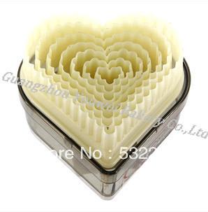 Frete Grátis forma do coração pregas Calor resistência PC Fondant Cookie Cutter Set Plastic 9pcs/set(China (Mainland))