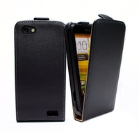 1pcs/lot Luxury Genuine leather case For HTC One V real Leather flip Case Flipcover with black