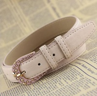 New arrival fashion crystal pin buckle high quality imitation leather belt for women,female all match dress accessories