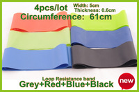 Resistance band LOOP exercise pilates yoga Fitness Bands tubing Workout Circumference61CM 4PCS/lot width5cm thick0.6mm