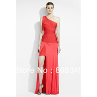 2013 brand new HL One-Shoulder Red/Black Gown in Coral Poppy Long Dress, 100% superior texture gorgeous legerity formal dress