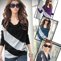 2013 fashion ladies' Batwing Dolman Match Color Casual Blouse Tops Shirt D0016 UK6-20 S M L XL