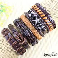 Бижутерия ручной работы черный этнических племен кожаный регулируемый браслеты для унисекс lz46