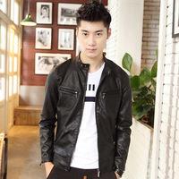 Autumn male PU clothing men's clothing design slim short leather jacket leather motorcycle clothing men's outerwear