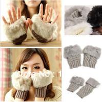 Free Shipping Fashion Winter Arm Warmer Half-finger Gloves, Plaid short Knitted Fur Trim Gloves Mitten