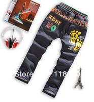 wholesales 2013 winter new arrivals boys cartoon footprints cotton padded thicken jean trousers kids long denim pants