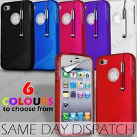 Free shipping 300PCS High Quality Soft TPU Gel S line Skin Cover case For iphone4/4S,(100pcs case+100pcs Film + 100pcs pen)