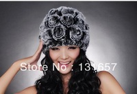 New 2013 Winter Women's Hat, Hand-woven Rabbit fur Hats.H-130