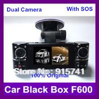 Dual Lens 8 LED Night Vision Car DVR F600 SOS Button 30FPS HD Vehicle Camera 2.7 inch LCD 120 Degree Rotatable Lens Free Ship