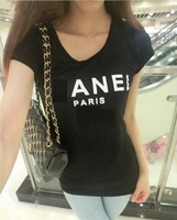 Free Shipping Women's Paris Letter Print Short Sleeve T-shirt Slim Cotton Tees Tops Black White Top Quality