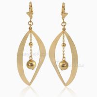 24MM Wide Womens Ladies Earrings Dangling Open Leaf Gold Filled Leverback Earrings w/ Bead Ball Charm GE40