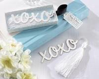 "New Arrival 60 pcs/lot ""Hugs & Kisses"" Silver-Finish Bookmark Wedding favors Free Shipping"