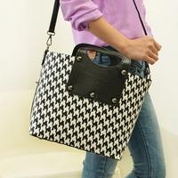 2013 vintage houndstooth fluid cloth one shoulder check women's handbag