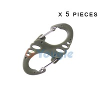 5 pcs/lot Camping Hiking 8 Shaped S Shaped quick release Quick link Buckles Carabiner Clip Hook Key Chain Ring  Olive Green