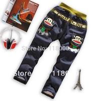 free shiping 4pcs/lot boys cartoon monkey cotton padded thicken jean trousers kids long denim pants