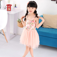 Girl child 2013 summer child skirt summer flower one-piece dress fresh 100% cotton suspender skirt summer