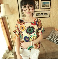New 2013 summer bird printed chiffon batwing sleeve  short sleeve loose T-shirt women's colorful blouse tee tops