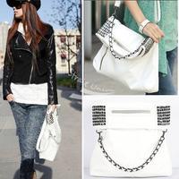 Korean Style Lady Women pu leather bags ladies handbags Fashion cheap Shoulder shopping Bag Purse White