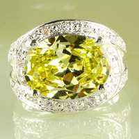 Big Jewelry Clear Crystal Silver Plated Ring Women yellow Amethyst & White Topaz Size 8 Party Wedding Free Shipping
