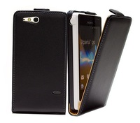 1pcs/lot Luxury genuine leather case For Sony ST27i Xperia go real  Leather flip Case Flipcover with black,white