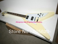 Best High Quality Newest Cream Flying V Electric Guitar Wholesale Free Shipping