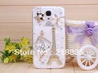 Butterfly Dancer Girl transparent stars rhinestone case hard cases for samsung s4 i9500 i9508 50pcs/lot