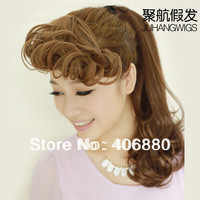 Best selling! Fake fringe vintage roll bangs female fluffy roll fringe hair piece extension Free shipping